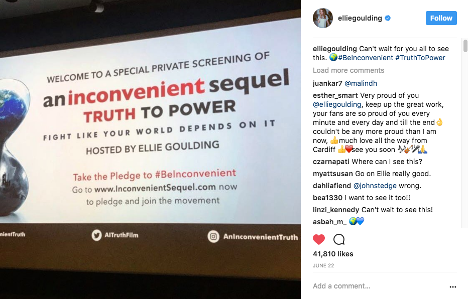 Ellie Goulding at An Inconvenient Sequel: Truth to Power